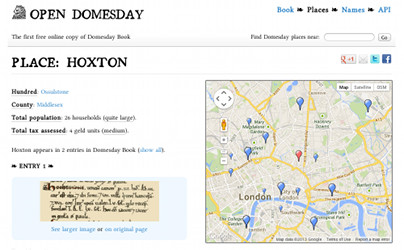 Screenshot of Domesday Book website