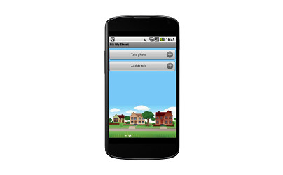 Screenshot of the FixMyStreet app
